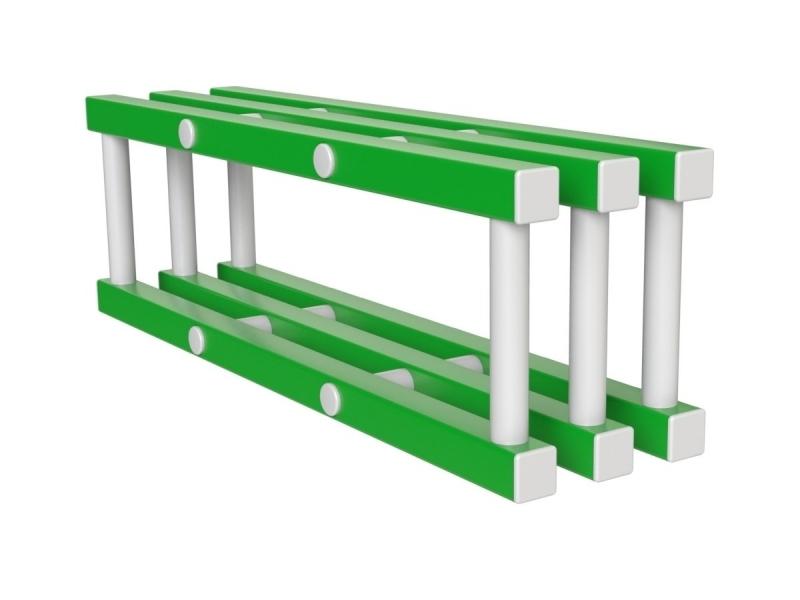 Полка навесная (вариант 1), бело-зеленая, 100x25x32 см