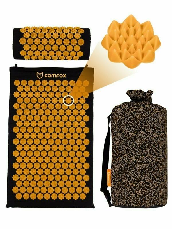 Набор массажный коврик и подушка Comfox черный