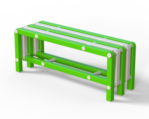 Скамья (вариант 9), бело-зеленая
