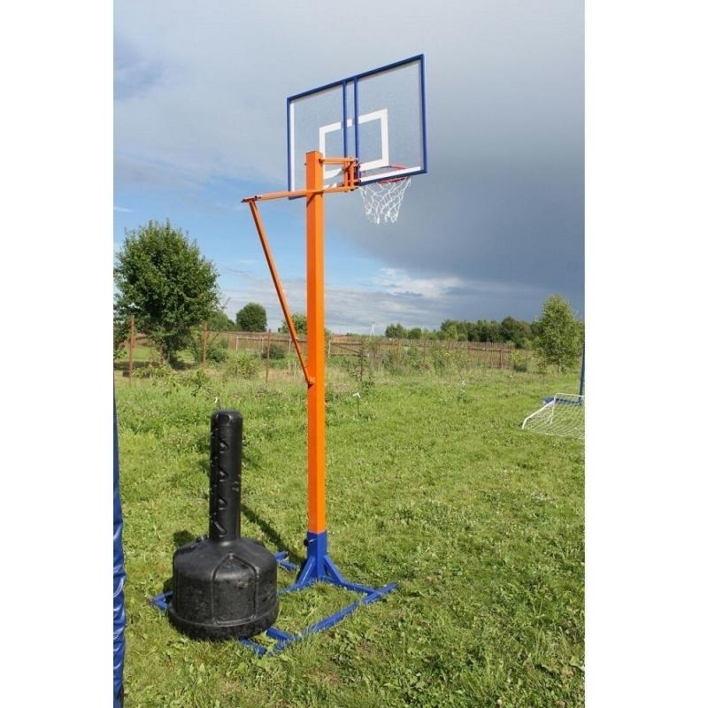 Стойка баскетбольная любительская с щитом, кольцом и сеткой